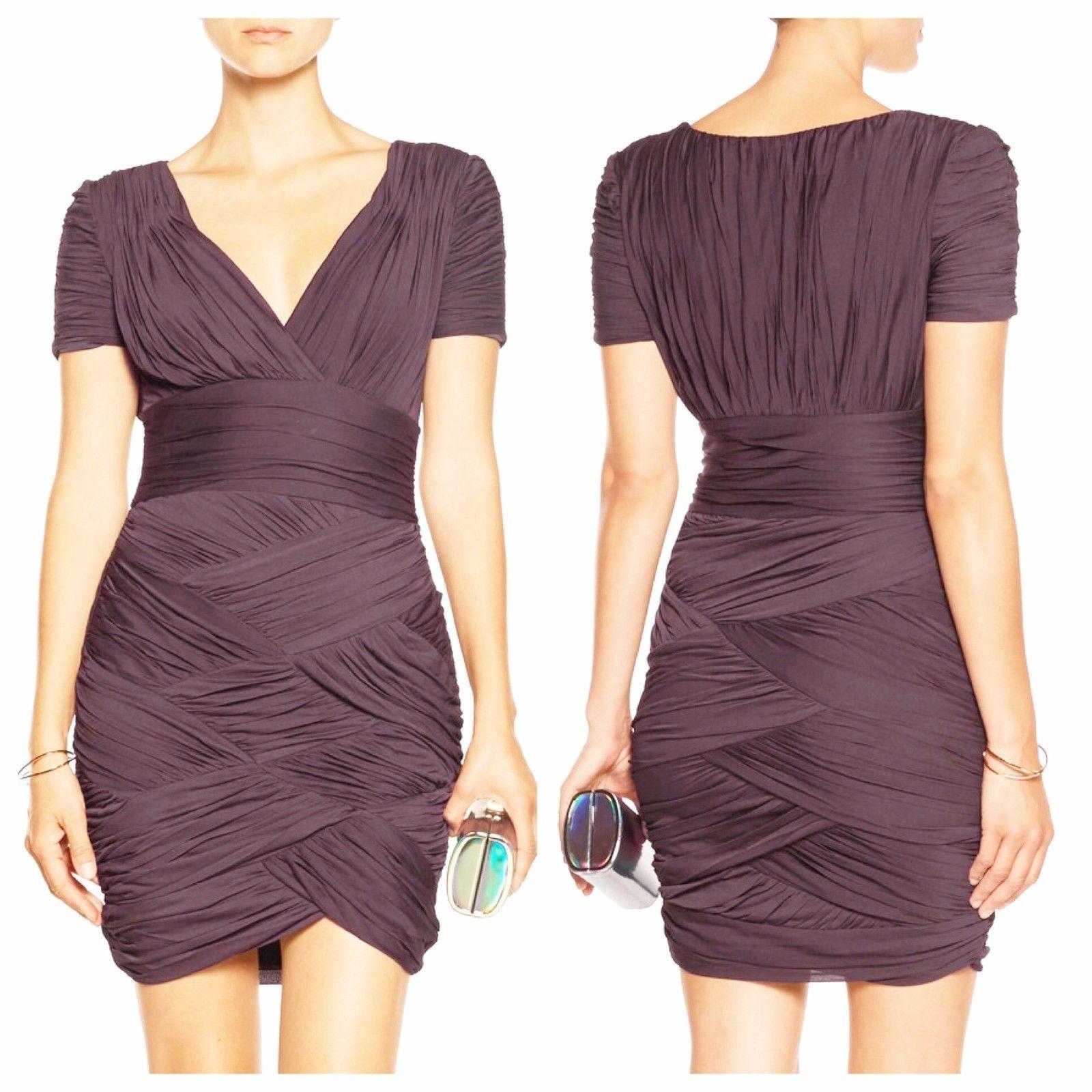 NWT Halston Heritage Ruched Jersey Mini Bodycon Dress Purple Aubergine XS 0 2
