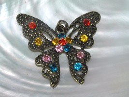 Estate HUGE Antique Goldtone BUTTERFLY w Red Yellow Pink Blue Rhinestone... - $9.49