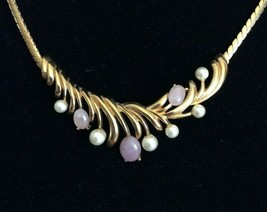 Vintage Signed Napier Gold Tone Pearl Pink Stone Chain Collar Statement Necklace - $29.69