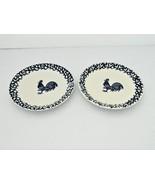 Folk Craft Tienshan  - 2 Bread/SmallPlates – Sponge Blue Rooster  - $9.50