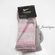 Nike SX7306-941 Youth Athletic Swoosh Crew Socks 2 Pack Medium (5Y-7Y) Pink Grey - $9.95