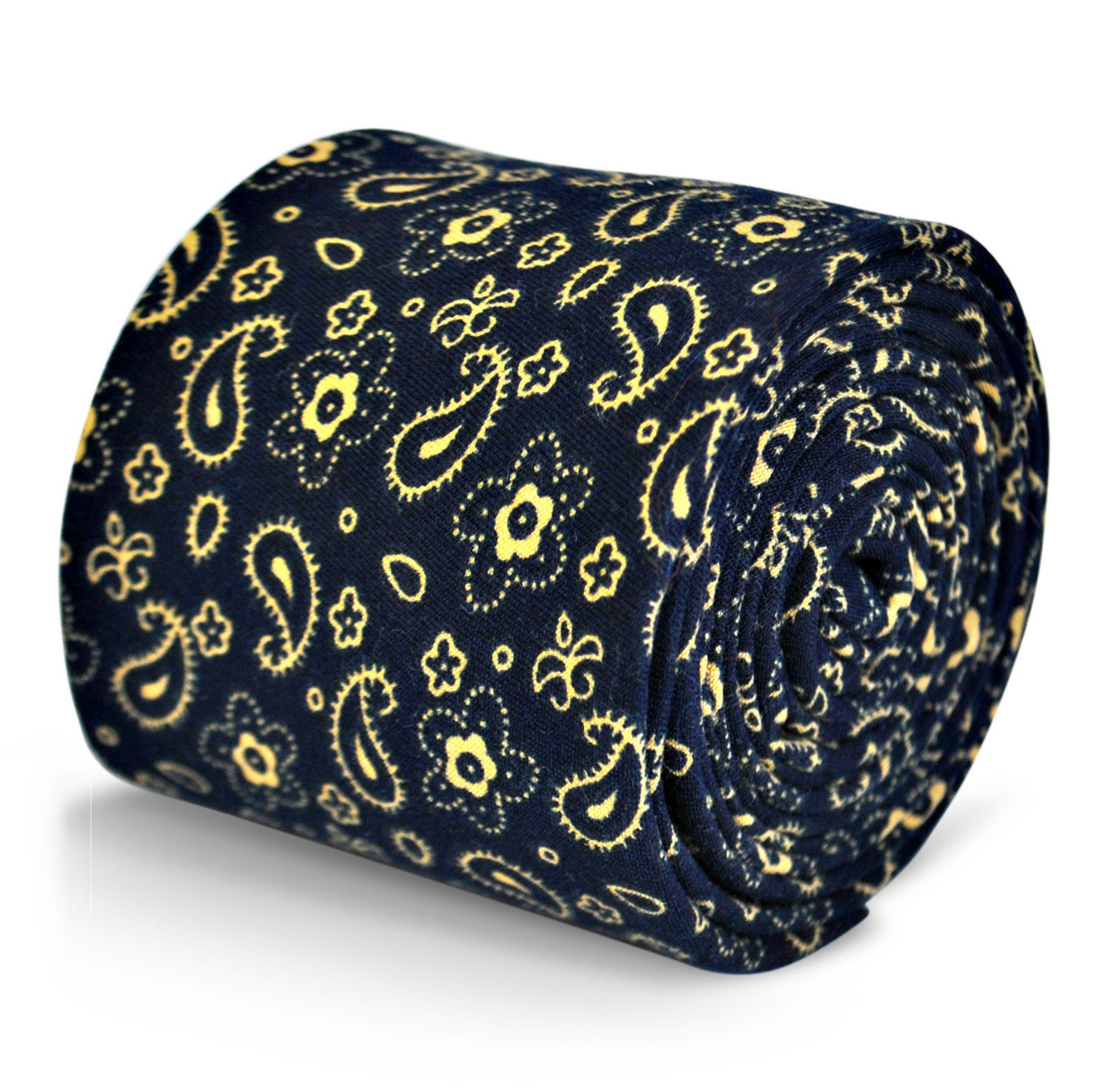 Frederick Thomas mens cotton linen tie in navy blue with paisley pattern FT3126
