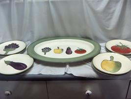9 Pc Vintage Harry & David Platter 8 Luncheon Plates Artichoke Eggplant ... - $94.05