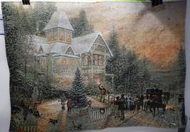 Thomas Kinkade Wall Hanging Tapestry Light Up Victorian Christmas Tree F... - $44.54