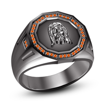 Graceful Black Gold Plated 925 Sterling Silver Round Orange Sapphire Jesus Ring - $113.52