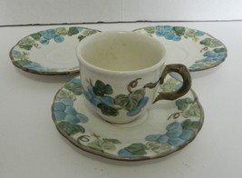 Metlox Poppytrail Three Saucers and One Coffee Cup Sculptured Grape Pattern - $12.75