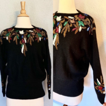 Vintage 80s Black Art Deco ANGORA Beaded SILK Slouchy Sweater Jumper Chr... - $32.73