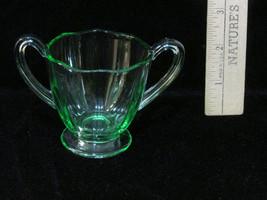 Green Depression Glass Sugar Bowl w/ Handles Vi... - $10.88