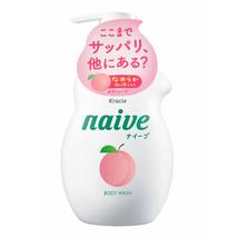 KRACIE Naive Body Pump Soap, Peach, 17.9 Ounce (530ml)