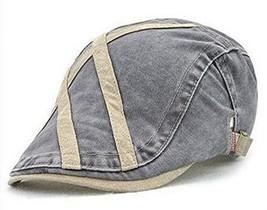 Hat Cap Cabbie Gatsby Newsboy Khaki on Grey Adjustable Cross Stripes - $8.60