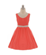 Coral Sleeveless Pleats Chiffon Pearl Beads Rhinestones Embellish Girl D... - $36.99+
