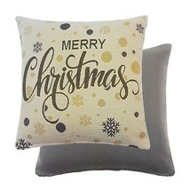 2 FILLED SILVER GREY MERRY CHRISTMAS SPARKLY TAPESTRY CHENILLE THICK CUS... - $32.88