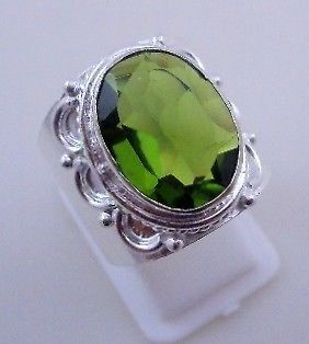 Primary image for 8 Gr Faceted Peridot Stone Silver Overlay Handmade Jewelry Ring Size 9