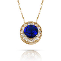 1.90Ct Created Diamond & Sapphire Round Halo Charm Pendant 14K Y Gold w/... - $60.27+