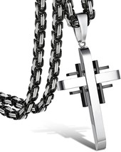 Stainless Steel Cross Necklace For Men Pendant Byzantine Chain Necklace - $37.68