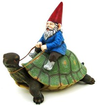 Large Garden Gnome Riding Turtle Statue Patio Pool - $53.49