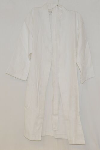Mirko Diamond Waffle Thigh Length White Cotton Robe With Belt Size S To M