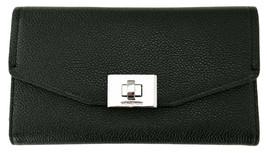 Michael Kors Cassie Purse Trifold Wallet Black Large Pebbled Leather - $237.19