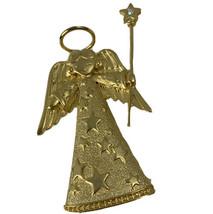 Vtg JJ Jonette Angel Brooch Halo Rhinestone Star Wand Christmas Gold Pin... - $32.68
