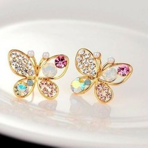 Fashion Ladies Chic Lovely Crystal Rhinestone Hollow Butterfly Ear Stud ... - $4.79