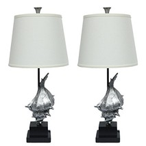 Urbanest Set of 2 Conch Table Lamps, Antique Silver - $114.87