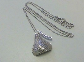 """WTJ Retro  Hershey Chocolate KISSES Sterling Silver CZ Crystal Necklace 17"""" - $39.99"""