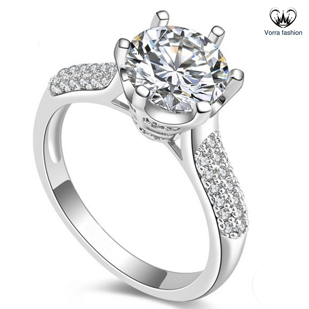 Pure Sterling Silver White Gold Plated Round Cut Diamond ...