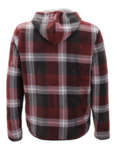 Men's Casual Flannel Zip Up Fleece Lined Plaid Sherpa Hoodie Lightweight Jacket image 3
