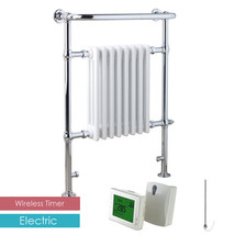 Aura Rex Traditional ELECTRIC Heated Towel Rail Radiator + WIRELESS TIMER - ₨31,142.15 INR+