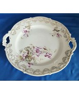 KPM Round Serving Tray w/Handles, Purple Flowers Gold Scrolls Made in Ge... - $12.87