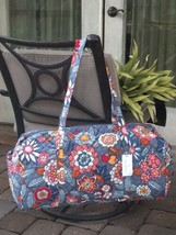 VERA BRADLEY LARGE TRAVELER DUFFEL BAG TROPICAL EVENING OVERNIGHT TOTE G... - $57.41