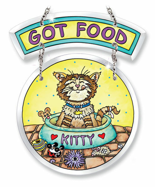 "Primary image for Got Food Sun Catcher AMIA Kitty Cat Beveled Glass New 6 3/8"" Food Dish Mouse Toy"