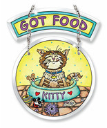 "Got Food Sun Catcher AMIA Kitty Cat Beveled Glass New 6 3/8"" Food Dish M... - £18.60 GBP"