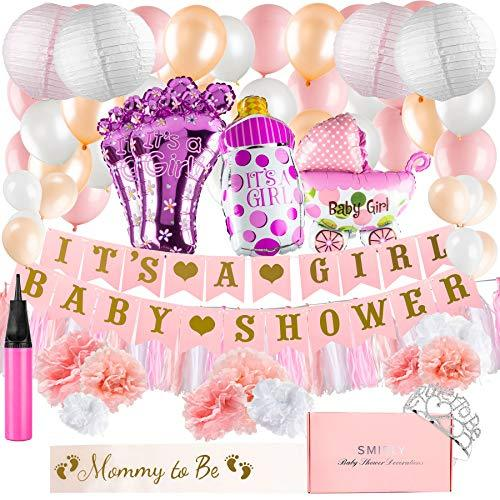 Baby Shower Decorations for Girl Kit: Pink, White, and Champagne Gold Party Deco