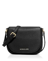 Michael Kors Leather Messenger Crossbody Medium Bedford BLACK NWT $258 - $249.44