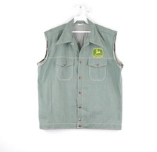 Vintage 70s John Deere Spell Out Patch Sleeveless Denim Jean Vest USA Me... - $197.95