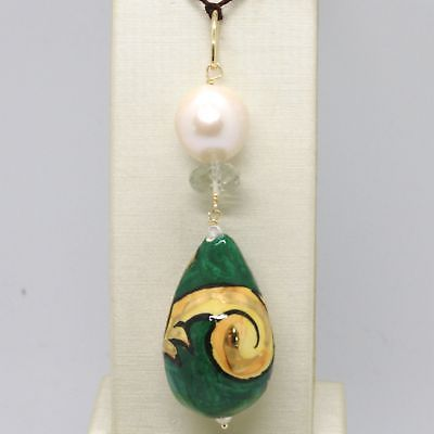 PENDANT YELLOW GOLD 18K 750 WITH PEARL PRASIOLITE AND CERAMICS MADE IN ITALY