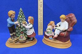 Avon Christmas Memories Figurines 1982 & 1983 The Night Before Vintage L... - $15.04