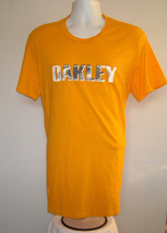 Mens Oakley T Shirt Large Regular Fit Yellow Black & White Logo - $13.63