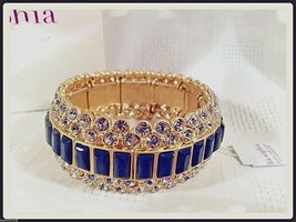 Lia Sophia MODELINA stretch bracelet cut crystals & dark gray stones NIB $158 RV - $59.95