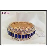 Lia Sophia MODELINA stretch bracelet cut crystals & dark gray stones NIB... - $59.35