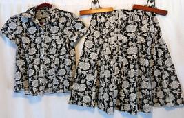 Liz Claiborne Skirt Suit top M Skirt 8 waist 32 Floral Work Casual Fun - $13.07