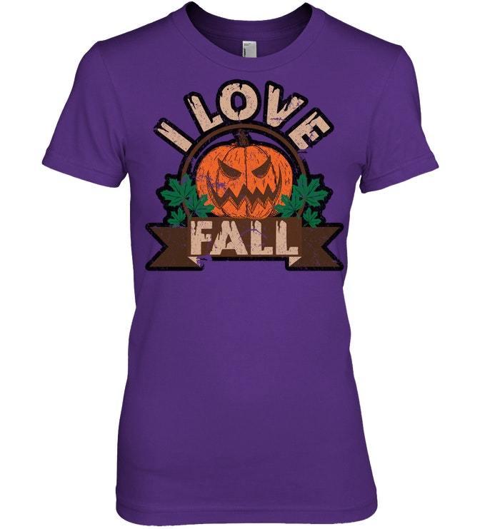 Funny Halloween Tshirt I Love Fall Pumpkin Distressed