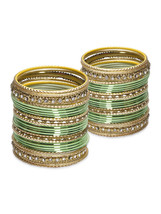 Lacquer Glass Wedding Bangles for women Light G... - $42.00