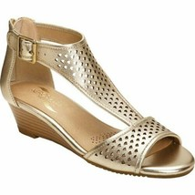 Aerosoles Sapphire Sz US 7 M EU 37.5 Women's Leather T-Strap Wedge Sandals Gold - $56.38