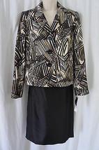Evan Picone Petite Costume Sz 14P Noir Multi Port Elizabeth Taffetas Jupe - $79.66