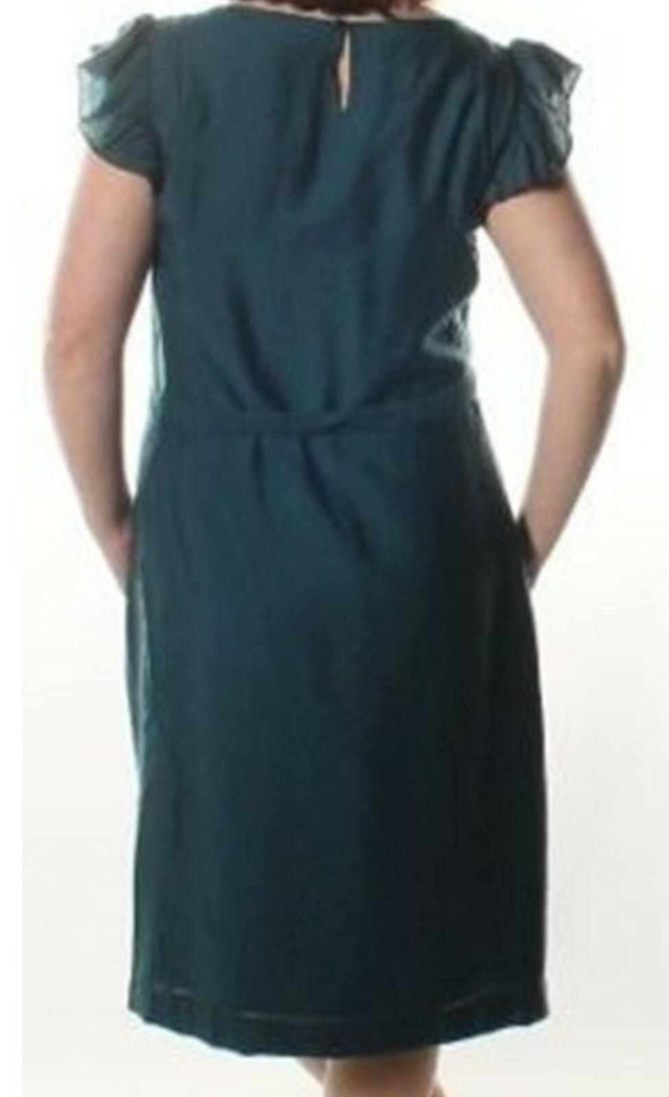 ANNE KLEIN Women's Solid Mallard Flutter Sleeve Crepe Green Casual Dress 8