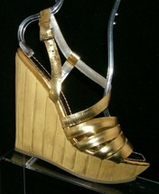 Jessica Simpson gold metallic strappy square slingback platform wedges 8B - $31.43