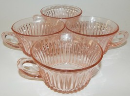 4 Anchor Hocking Depression Glass Pink Queen Anne Tea Cups Vintage 1930's - $39.59
