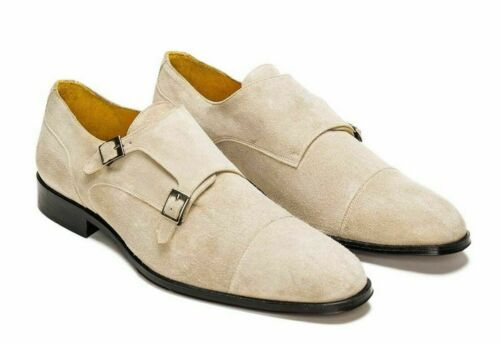 Handmade Men's Beige Color Monk Strap Dress Suede Shoes